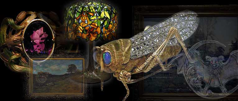 Collage of Buccelatti brooch, Tiffany lamp, Krementz brooch and Kaula painting